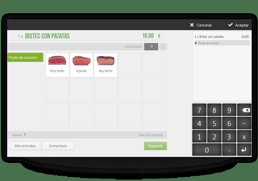 Modificadores de productos para restaurantes